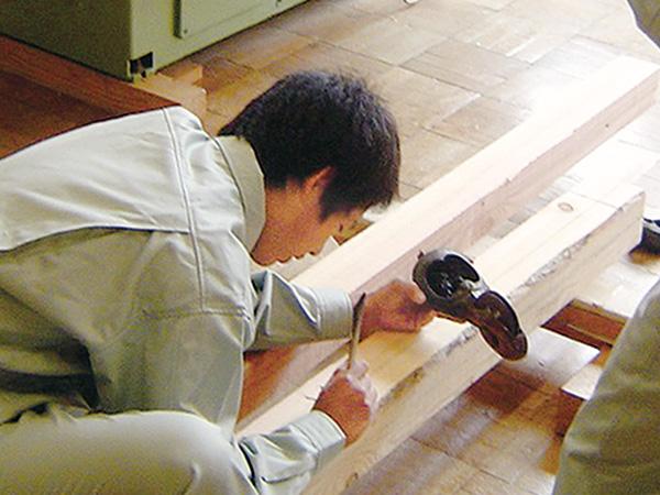 木材への墨付け実習